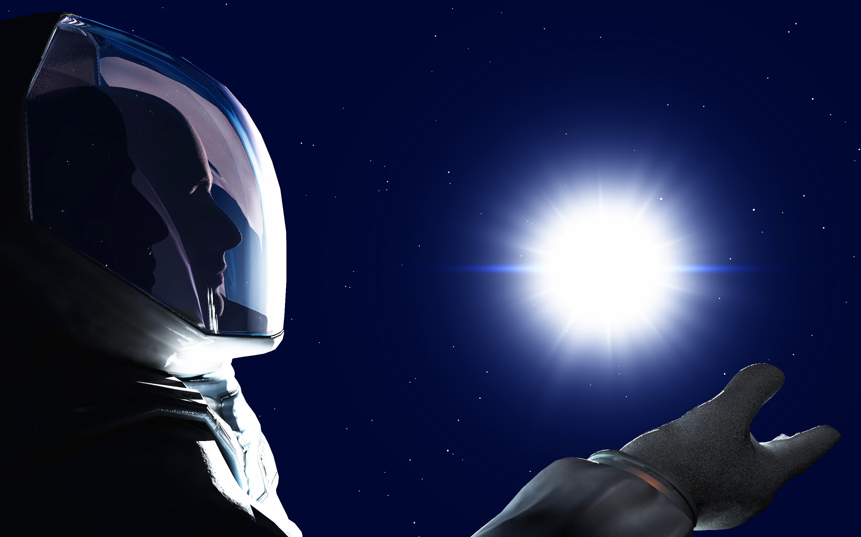 Un astronauta che parte per lo spazio