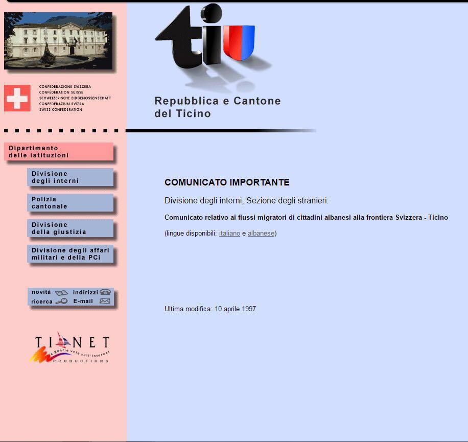 Il Dipartimento delle istituzioni online da 20 anni