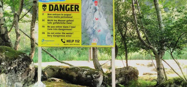 Acque sicure: posati due cartelli di prevenzione in zona Aquino (Valle Verzasca)