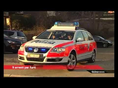 Nove arresti in Ticino
